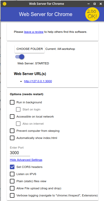 Setting Up a Simple Local Web Server :: IIIF Technical Workshop