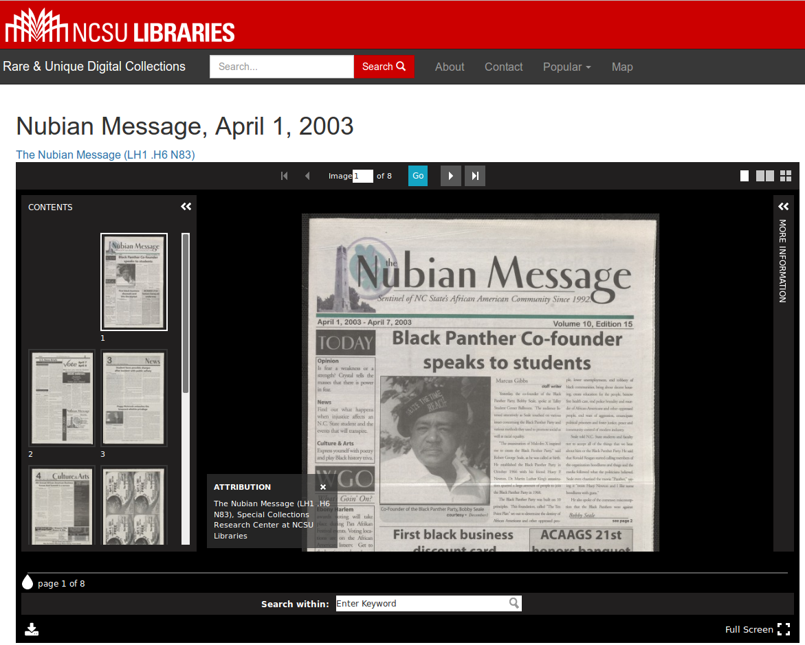 UniversalViewer embedded on the NCSU Libraries Rare and Unique Digital Collection site